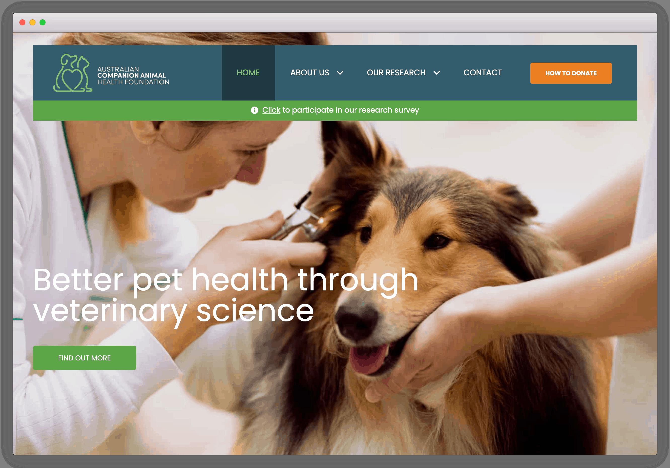 ACAHF homepage screenshot